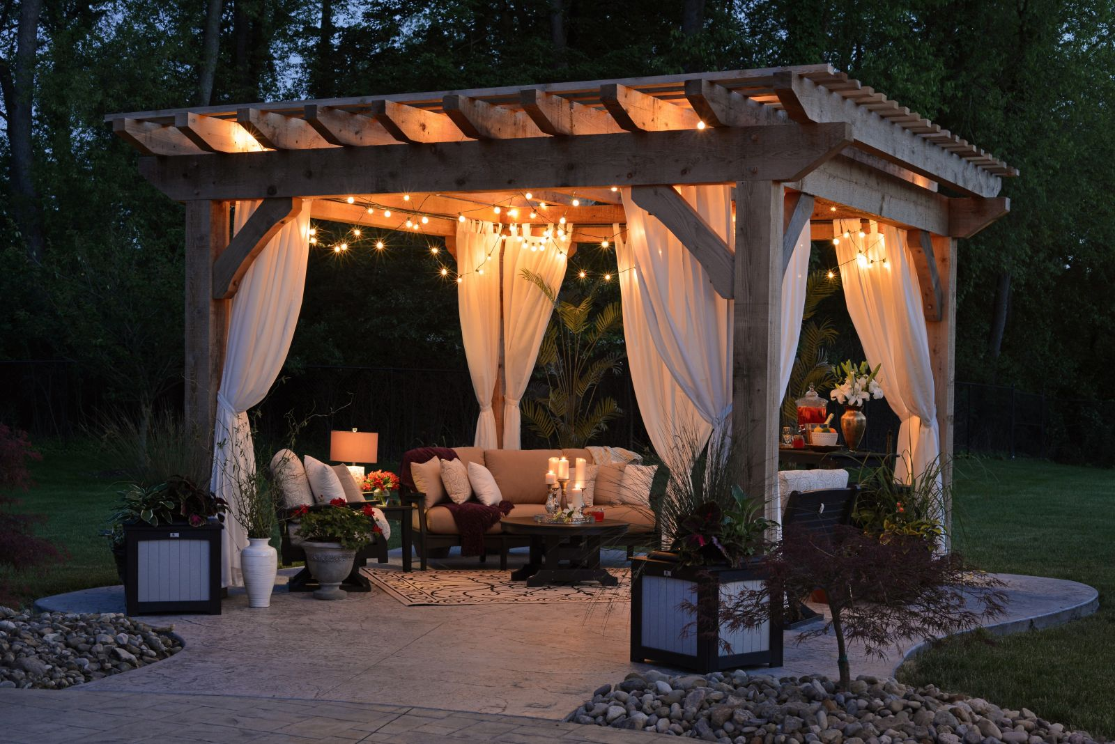 Patio with candle lights and heating